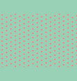 coral hearts on mint green seamless pattern vector image