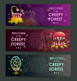 creepy forest banners concept predator plants set vector image vector image