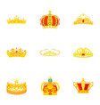 crowned head icons set cartoon style vector image vector image