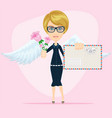cupid or an angel holds in his hands a large pink vector image vector image