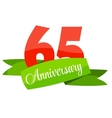 Cute Template 65 Years Anniversary Sign vector image vector image