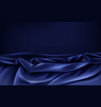 dark blue satin fabric wavy background vector image