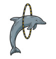 dolphin jumping through ring engraving vector image vector image