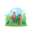 family people standing in summer city green park vector image vector image