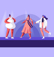 fashion show with top models on catwalk vector image