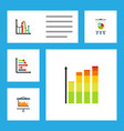flat icon chart set of statistic chart diagram vector image vector image