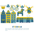 Flat icons Stockholm vector image