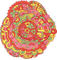 flower mandala - doodle colorful drawing vector image