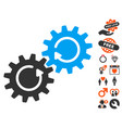 gear mechanism rotation icon with dating bonus vector image vector image
