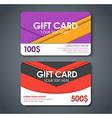 Gift cards in style of material design vector image vector image