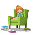 girl reading books on armchair vector image vector image