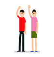 greeting people man and woman raised their hands vector image