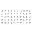 hand gestures line icon set vector image