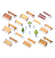 isometric wooden bench or park chair garden vase vector image vector image