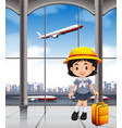 japanese girl at the airport terminal vector image