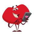 joyful heart character happily making phone calls vector image