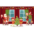 kids celebrate christmas at home flat santa claus vector image vector image
