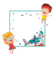 kids holding spring banner vector image vector image