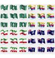 Macau Comoros Iran Montserrat Set of 36 flags of vector image vector image