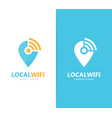 map pointer and wifi logo combination vector image vector image