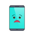 miffed mobile phone isolated emoticon vector image vector image