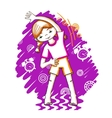 Morning fitness girl color drawing vector image vector image
