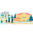 mother and son buy or rent new country house vector image