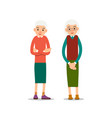 old woman two senior one elder women stand with vector image vector image