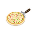 perspective pizza on wooden tray on white vector image