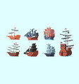 pirate boat old marine vessels pirate damaged vector image vector image