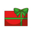 red christmas gift with green bow wrapped ribbon vector image vector image