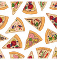 seamless pattern with pizza slices on white vector image vector image