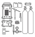 set of gas welding argon machine with regulator vector image