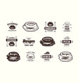 set pizza and burger labels emblems and logos vector image
