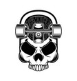 skateboard with skull design element for logo vector image