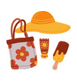 travel or vacation accessories set straw hat vector image vector image