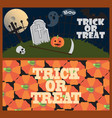 trick or treat posters with cemetery and pumpkins vector image vector image