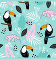 tropical leaves and toucan on blue background vector image vector image