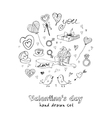 Valentine doodle set with hearts flowers gifts vector image
