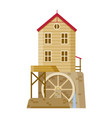 watermill flour mill grinds grain wooden mill vector image vector image