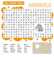 words search puzzle game animals for preschool vector image vector image