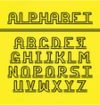 latin alphabet black letters with shadow vector image