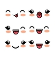 set kawaii facial expression white background vector image