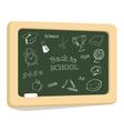 School icons on chalkboard vector image