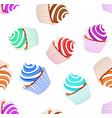 a seamless background set of cupcakes with fruit vector image vector image