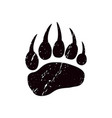 a trace bear black silhouette paw vector image vector image