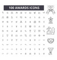 awards editable line icons 100 set vector image