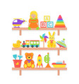 batoys on shelf in flat design cartoon set vector image vector image