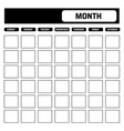 black and white blank calendar template with vector image vector image