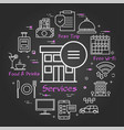 black hotel service square concept - hotel vector image vector image